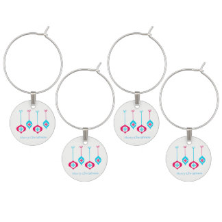 Blue And Red Christmas Ornaments Merry Christmas Wine Charm