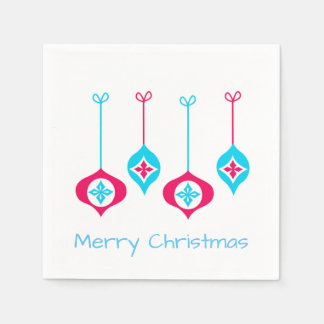 Blue And Red Christmas Ornaments Paper Napkin