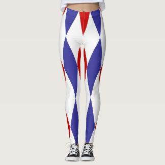 Blue and red diamonds design leggings