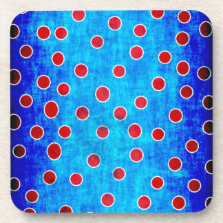 Blue and red dots beverage coaster