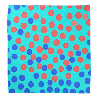 Blue and red dots on bright blue kerchief