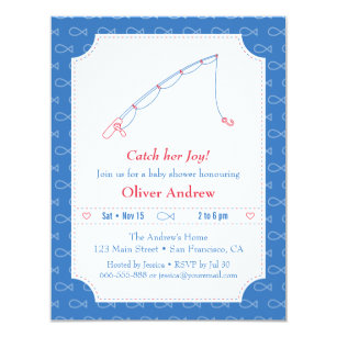 Blue And Red Fishing Baby Shower Invitations