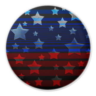 Blue and Red Floating Stars and Stripes USA Ceramic Knob