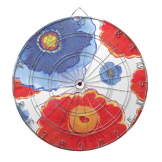 Blue and Red_Floral Wallpaper Dartboard