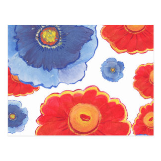 Blue and Red_Floral Wallpaper Postcard