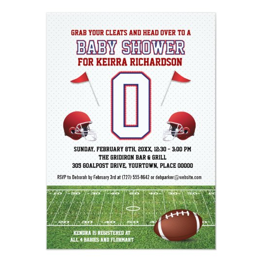 Blue and Red Football Baby Shower Card