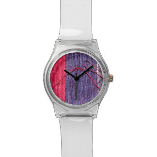 Blue and Red Handmade Thai Silk Wrist Watch