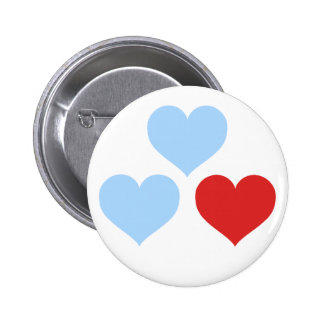 Blue and Red Hearts Pinback Button