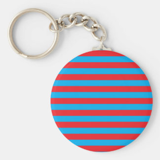 Blue and Red Horizontal Stripes Key Ring