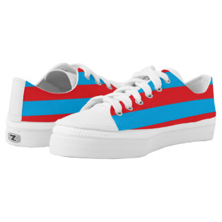 Blue and Red Horizontal Stripes Low Tops