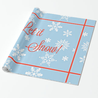 "Blue and Red ""Let it Snow!"" Design Wrapping Paper"