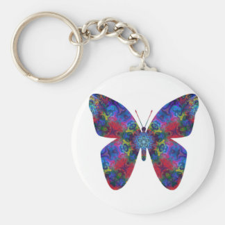 Blue and Red Mandala Fantasy Butterfly Key Chains