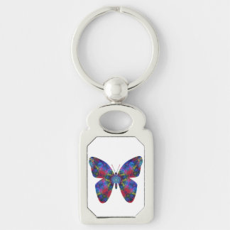 Blue and Red Mandala Fantasy Butterfly Keychains