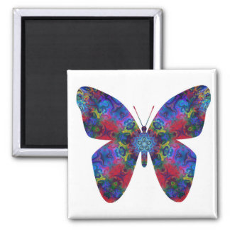 Blue and Red Mandala Fantasy Butterfly Refrigerator Magnets