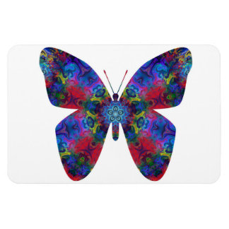 Blue and Red Mandala Fantasy Butterfly Rectangular Magnets