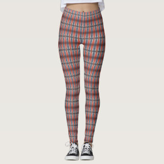 blue and red modern pattern leggings