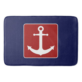 Blue and Red Nautical Anchor Bathmat