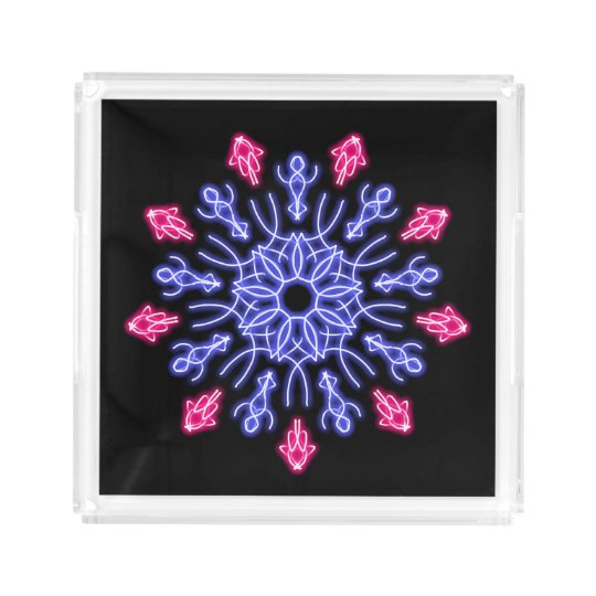 Blue and red neon flower acrylic tray