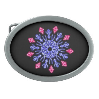 Blue and red neon flower belt buckle