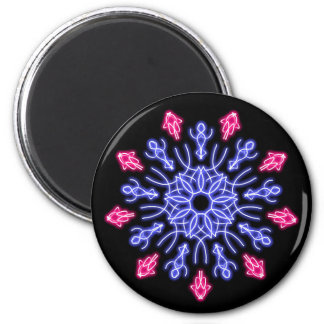 Blue and red neon flower magnet