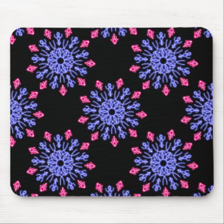 Blue and red neon flower mouse pad