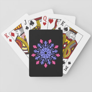 Blue and red neon flower playing cards