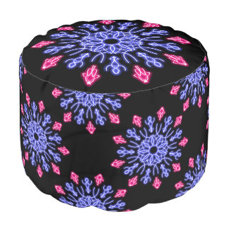 Blue and red neon flower pouf