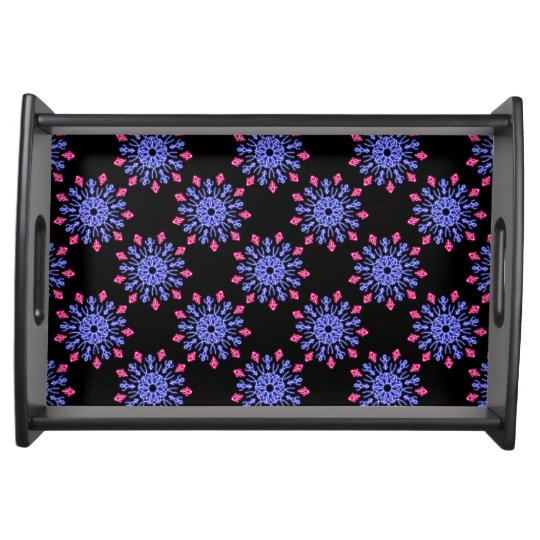 Blue and red neon flower serving tray