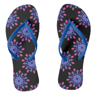 Blue and red neon flower thongs