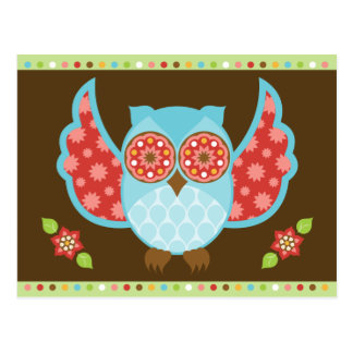 Blue and Red Owl on Brown and Green Postcard