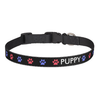 Blue and Red Paw Prints on Black Pet Collar