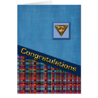 Blue and Red Plaid 3D Congrats Card