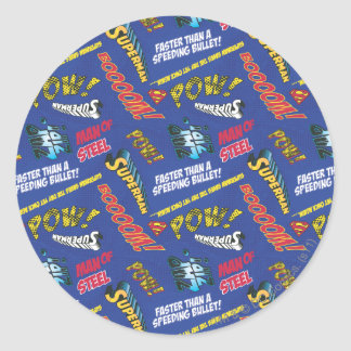 Blue and Red Pow! Classic Round Sticker