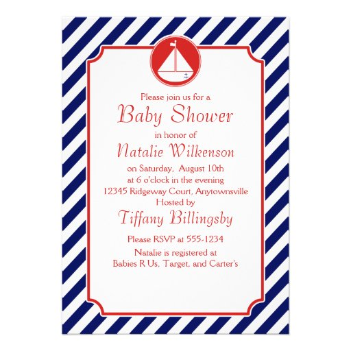 Blue and Red Sailboat  Baby Shower Personalized Invitation