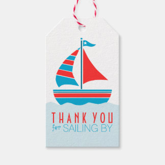 Blue and Red Sailboat Nautical Birthday Party Gift Tags