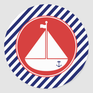 Blue and Red Sailboat Round Sticker