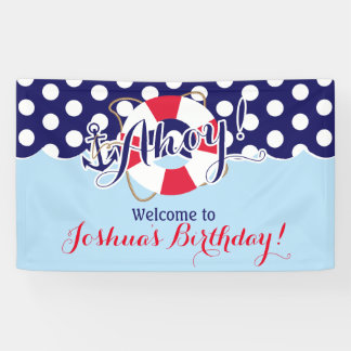 Blue and Red, Sailor, Nautical Birthday Banner