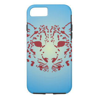 Blue and Red Snow Leopard Face iPhone 8/7 Case