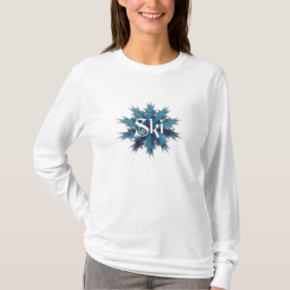 Blue and Red Snowflake Ski T-Shirt