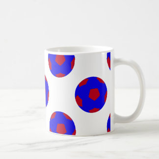 Blue and Red Soccer Ball Pattern Coffee Mug
