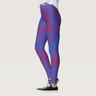 Blue and Red Spiral Tie Dye Leggings