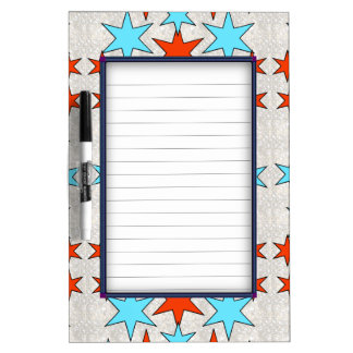 Blue and Red Star Print Dry Erase Board