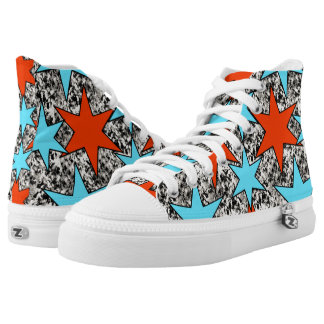 Blue and Red Star Print High Tops