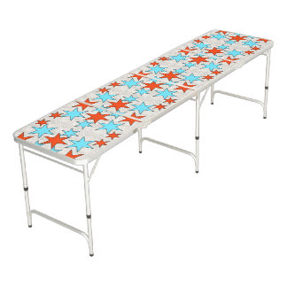 Blue and Red Star Print Pong Table