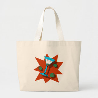 Blue and Red Starburst Martini Large Tote Bag