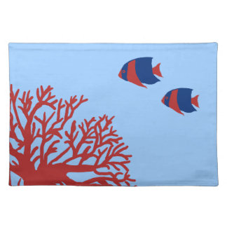 Blue and Red Tropical Angelfish Placemat