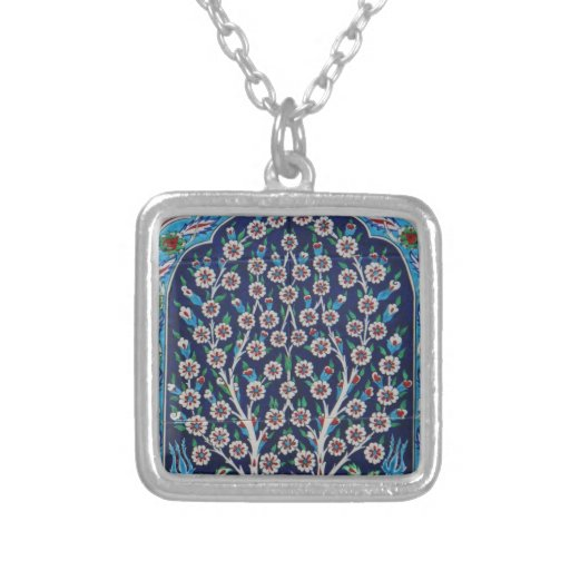 Blue and Red Turkish tiles TREE OF LIFE Pendants