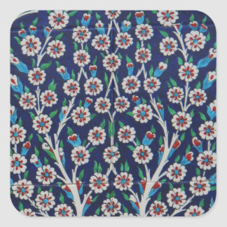 Blue and Red Turkish tiles TREE OF LIFE Square Sticker