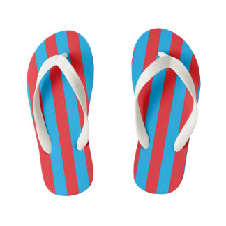 Blue and Red Vertical Stripes Kid's Thongs