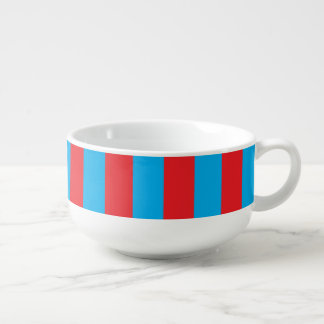 Blue and Red Vertical Stripes Soup Mug